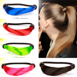 Wholesale Wig Pony Tail Holders - NewFluorescent color artificial Women wig hair ring Fashion Colorful Girls Elastic Hair Bands Headwear Girl Ponytails Pony Tails Holder 2123