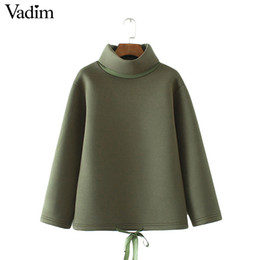 Wholesale Women S Bows Ties - Wholesale- Women drawstring loose sweatshirts turtleneck bow tie long sleeve warm pullover female autumn casual tops sudaderas SW1179
