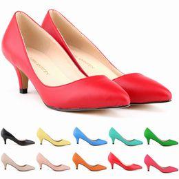 Wholesale Colour Shoes White Dress - 11 Colours Sexy Pointed Toe Middle High Heels Shoes Women Work Pumps New Brand Design Less Platform Pumps D0056