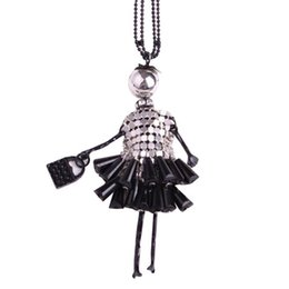 Wholesale Girl Mannequins - Crystal Doll Long Necklace Gift Mannequin Girl Dress Handbag Doll Necklaces Pendants free shipping