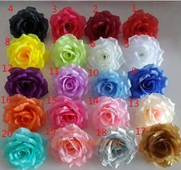 Wholesale Fabric Wall Lights - 10cm 20colors Artificial fabric silk rose flower head diy decor vine wedding arch wall flower accessory