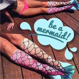 Wholesale Wholesale Knee High Boots - Mermaid 3D Socks Mermaid Tail Beach Socks Mermaid Stockings Fashion Knee High Socks Cosplay Fish Scales Sock Long Boot Hosiery