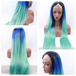 Wholesale Blue Baby Wig - Fashion New Ombre Blue Green Long Straight Wigs for Black Women Heat Resistant Glueless Synthetic Lace Front Wigs with Baby Hair