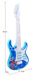 Wholesale Guitar Music Instrument - Children's four string guitar electric toys Can play an instrument baby multi-function simulation with music educational toys