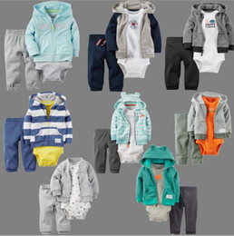 Wholesale Leopard Boys Hooded Jacket - 2016 winter striped cotton long-sleeved jumpsuits jacket 3 piece suits jacket + coveralls + trousers Boy casual baby clothes E590