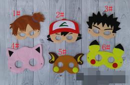 Wholesale Christmas Star Design - 6 design poke mask cosplay Pikachu Pokémon mask Halloween Party Costumes for Kids