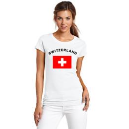 magliette felpate Sconti 2016 Estate Coppa Europa Svizzera Fans Cheer T-Shirts 100% Cotone Calcio Sport Fitness Palestra Bandiera nazionale Magliette per le donne
