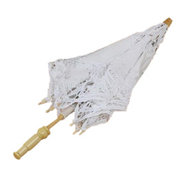 Wholesale Bridal Party Umbrellas - Wholesale-Good deal 1X Vintage White Cotton Handmade Parasol Lace Sun Umbrella Party Wedding Bridal