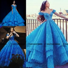 Wholesale Elastic Puffy Sleeves - Cinderella in Michael Cinco Blue Lace Puffy Ball Gown Prom Dresses Custom Make Tiered Skirt Arabic Dubai Occasion Evening Party Dress