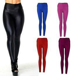 Wholesale Leggins Colors Pants - Wholesale- Fashion Women Leggings High Waist Candy Colors Sportswear Workout Leggings Women Pants Skinny Jegging Elastic Stretched Leggins