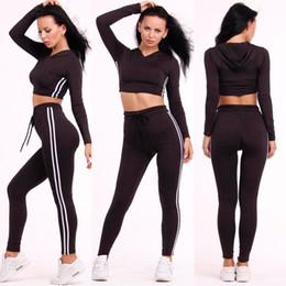 Wholesale Crop Top Jogging Suit - Sport Suit Women 2016 Summer Style Striped Printed 2 Piece Hooded Crop Top Long Pant Sets Casual Black Two Piece Jogging Suits