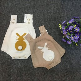 Wholesale Onesies White Wholesale - Ins Knitted Baby Romper Autumn infant Jumpsuits Kids Romper Jumpsuit Baby Onesies Toddler climbing clothing outwear