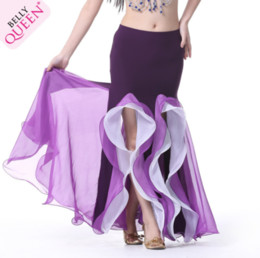 Wholesale Long Belly Dancing Skirts - Sexy Elastic Strip Double Color Slit Belly Dance Stage Performance Long Skirts Professional Belly Dancing Long Maxi Skirts Free shipping