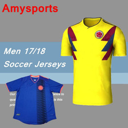 Wholesale National Teams - 2018 World Cup Colombia home yellow soccer jersey 17 18 away blue FALCAO JAMES CUADRADO TEO BACCA football shirts National team