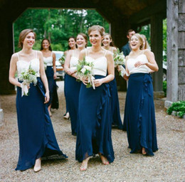 Wholesale Two Toned Chiffon Bridesmaid Dresses - Two Tone Chiffon Long Bridesmaid Dresses White and Blue Chiffon Spaghetti Straps Ruffles 2016 Cheap Maid of Honor Gowns Formal Evening Dress