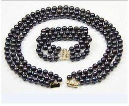 Wholesale Tahitian Pearls 8mm - 3 ROW 7-8mm natural tahitian black pearl necklace bracelet set