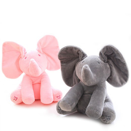 Wholesale Electric Baby Dolls - Peek a boo Plush Elephant Play Hide and Seek Electric Toys Baby Cuddle Doll Music Animals Stuffed Elephant