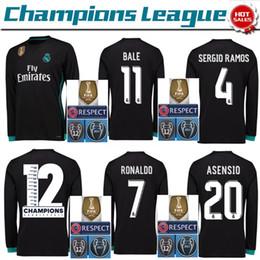Wholesale Sleeve Flash - 2017 2018 Champions League Real Madrid Long Sleeve Soccer Jerseys RONALDO Asensio SERGIO RAMOS uniform ISCO MODRIC Kroos Football Shirts