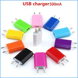 Wholesale Iphone Wholesale Europe - Adapter Travel Charger 2016 Universal AC Power Adapter 4S 500MA Europe and US Regulation 4 generations USB wall Cell Phone Chargers A0031