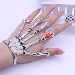 Wholesale Skeleton Hand Bones Bracelet - Wholesale-Europe And America Silver Punk Rock Skeleton Skull Hand Bone Bracelet Ruby Goth Skeleton Bracelet for women pulseras Free Ship