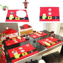 Wholesale Red Placemats - 2017 Christmas Knife Fork Mats Placemats Table mats Decoration Xmas Party Pads Comfortable Dinner Dining Tablecloth Supplies Decorations