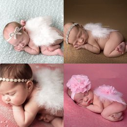 Wholesale Unisex Hair Pieces - Fashion Girls Hairband with Rhinestone Flower Hair Accessory New Newborn Baby Angle Wing with Headband Photography Props ESW-112