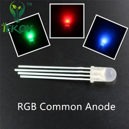 Wholesale Diode Rgb Led - High Quality 5000pcs lot 5mm Diffused COMMON Anode Red Green Blue RGB LED 4Pins Tri Color Emitting Diodes F5 RGB Diffused LEDs LIGHT