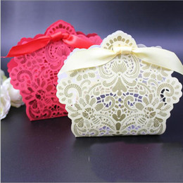 Wholesale Cut Gift Box - Red Gold Rose Laser Cut Hollow Favor Holders Baby Shower Wedding Favors Boxes Gifts Candy Boxes With Ribbon Wedding Party Favor Supplies