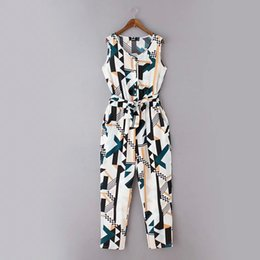 Wholesale Trendy Rompers Jumpsuits - Wholesale- Retro Colorful Geometry Pattern Sleeveless Slim Trendy Women Overalls Elastic Waist Sashes Bow Casual Rompers Jumpsuit Bodysuit