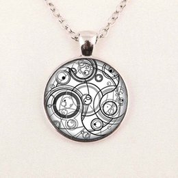Wholesale Rhinestone Seals - Wholesale Glass Art Picture Necklace Doctor Who necklace Blue Time Lord Seal Pendant Glass Photo Pendant Neckalce
