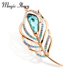 Wholesale Peacock Feathers Jewelry - Wholesale- Magic Ikery Rose Gold Color Zircon Crystal Luxury Peacock Feather Brooches Wholesales Fashion Jewelry for women MKY5899