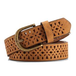 Wholesale Brown Wide Belt Buckle - 2016 New Fashion Women Pattern Hollow Buckle Thin Skin Wide Cummerbund Women's Strap Dress Belt Brown Waistband Luxury Designer