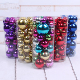 Wholesale Blue Plastic Ornaments Balls - 3cm-8cm 36pcs pack Christmas decorations for home Christmas Tree ornaments ball Transparent hanging ball Gold Silver Blue Red window display