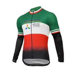 Wholesale italia cycling - WINTER FLEECE THERMAL 2017 ASTANA PRO TEAM ARU ITALIA CHAMPION ONLY LONG SLEEVE CYCLING JERSEY SIZE:XS-4XL