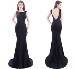 Wholesale Model Chinese Ships - Formal Mermaid Black Evening Dresses Chinese Embroidery Flower Pearl Prom Gowns Red Carpet Dresses Sexy Backless Free Shipping CPS410