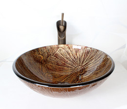 Wholesale Wash basin brown red glass art style bathroom and toilet use