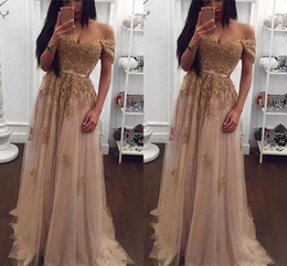 Wholesale Orange Sweetheart Line Prom Dresses - Champagne Lace Arabic Evening Dresses 2017 Beaded Sweetheart A line Tulle Prom Dresses Vintage Cheap Formal Party Gowns