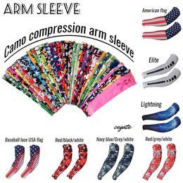 2018 Nuovo braccio di compressione scaldamuscoli manica sport baseball calcio basket camuffamento più di 128 tipi di colori da