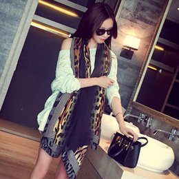 Wholesale Scarf Leopard Color - 1 Color Leopard Scarf Summer poncho shawls and scarves Warmful Pashmina Cotton kerchief Women Cape European and American fashion