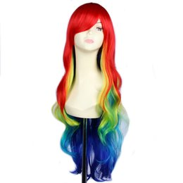 Wholesale Long Rainbow Wigs - 32inch Synthetic Harajuku Multi Color Rainbow Ombre Wig Cosplay Hair Long Wavy Wigs For Women