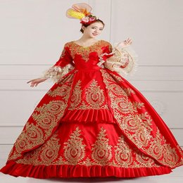 Wholesale Hand Work Gowns - Custom 2016 Hand made Red Victorian costume 18th century Madamede Pompadour Costume