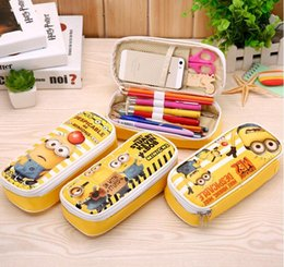 Wholesale Despicable Stationery - Wholesale-2016 New Cute Despicable Me Minions Girls Cartoon Pencil Cases Kawaii School Suppliers Pencilcase Stationery Pen Pencil Bags