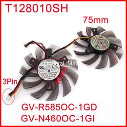 gigabyte großhandel Rabatt Wholesale 2pcs / Lot EVERFLOW T128010SH DC12V 0.25A für Gigabyte GV-R585OC-1GD GV-N460OC-1GI Grafikkarten-Lüfter