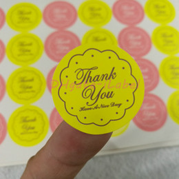 "Wholesale Wedding Thank Stickers - 360PCS Mixed Yellow Pink THANK YOU Design Sticker 27*27mm 1.06""x1.06""Food Seals, Gift stickers For Wedding Gift Cake Baking Sealing Sticker"