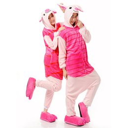 Wholesale Carnival Costumes Couples - Pink Piglet Onesies jumpsuit Girl Animal Suits Adults Piglet Cosplay Costume Onesies Couple Pyjamas Pajamas Animals Pig Sleepwear Party Wear