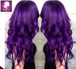Wholesale Black Purple Wig Long - Glueless Malaysian human hair wavy full lace wigs wig for black women purple human hair wig lace front wigs bleach knots