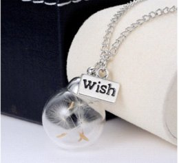 Wholesale Diy Wish Bottles - 2016 Hottest DIY Handmade Glass Bottle Vial Pendant Necklace Real Dandelion Engraved Wish Words Charms Necklace Lockets