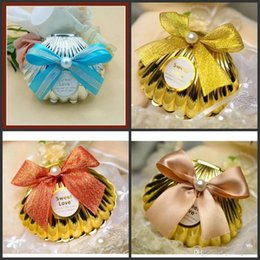 Wholesale Gold Color Favors - Sea Shell wedding party favor holder chocolate gift candy boxes with butterfly knot Wedding Party shower Favors gifts gold silver red color