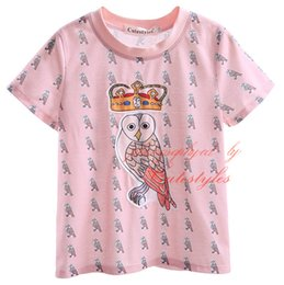 Camiseta de niños recién llegados online-Cutestyles nueva llegada camiseta para niños lindo animal y corona patrón de dibujos animados Tops con cuello en O cuello y manga corta BT90318-14L