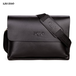Wholesale Leather Man Briefcase Classic - Wholesale- In 2017 POLO Famous Brand Classic Design Leather Mens Messenger Bags Promotional Casual Business Man Bags Shoulder Bag Briefcase